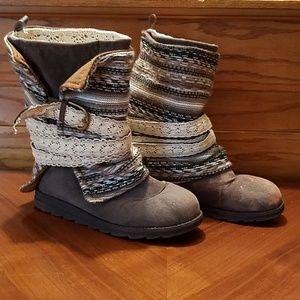 Muk Luks Boots Wool Overlay